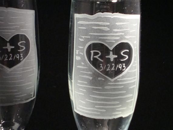 Personalized Etched Wedding Toasting Flutes – Rustic Birch Tree Toasting Flutes – Champagne Flutes