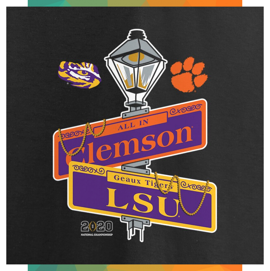 Lsu Tigers Vs Clemson Tigers Fanatics Branded College Football Playoff 2020 Nat In 2020 College Football Playoff Lsu Clemson Tigers Football