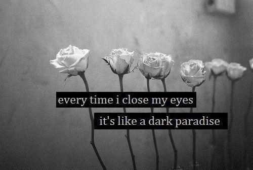 Cada vez que cierro mis ojos es como un paraíso oscuro.