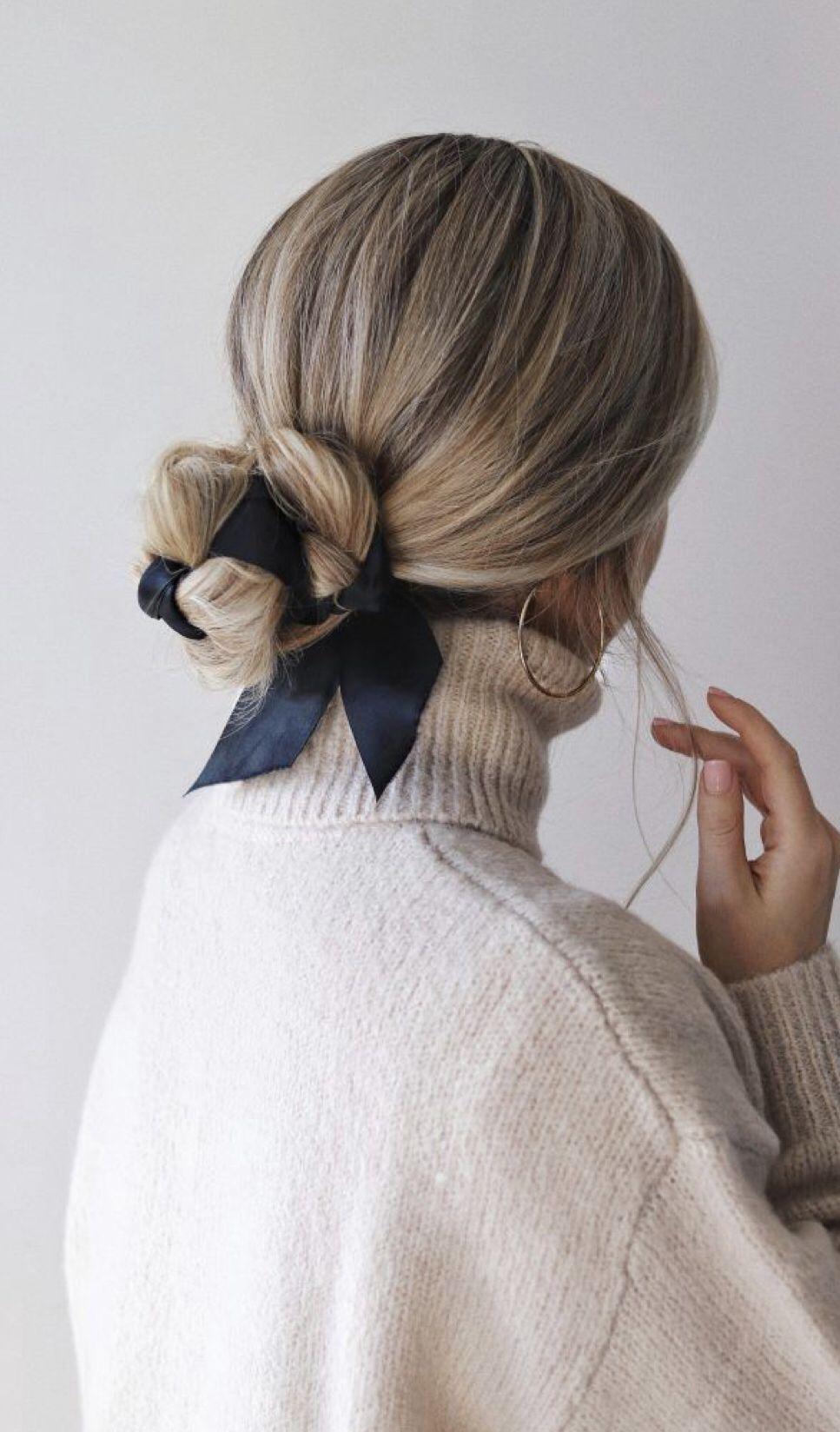 peinados para cabello largo ribbon bun hairstyle
