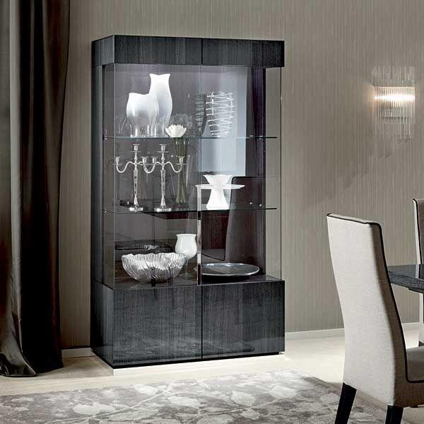 Best Borgia 2 Door Display Cabinet Grey High Gloss Barker 400 x 300