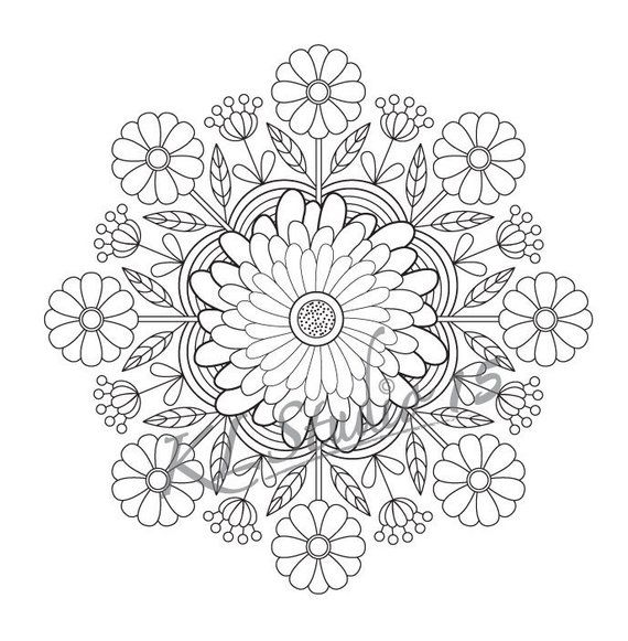 Coloring page -Flowers , Instant Download, Relax Mandala ...