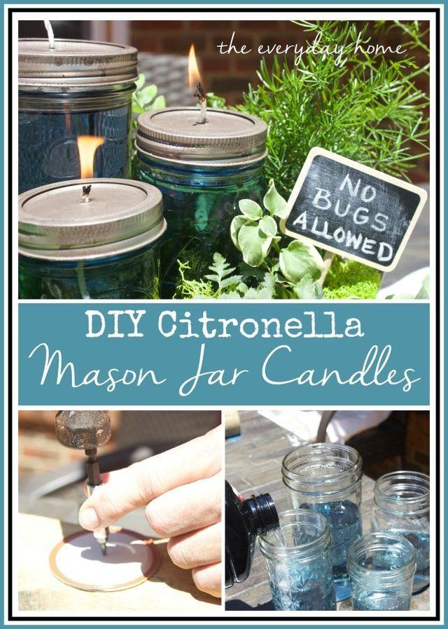 DIY Citronella Mason Jar Candles