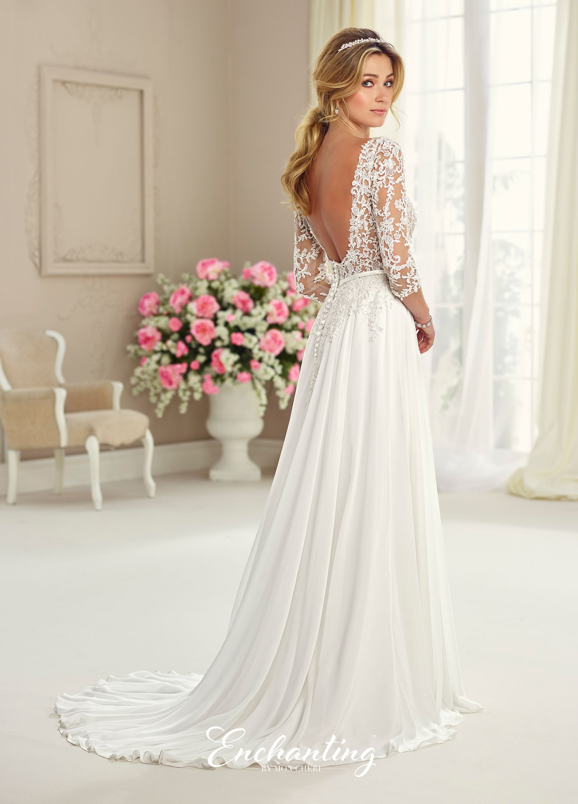 d74d755c08 Chiffon Tulle   Lace Wedding Gown - Enchanting by Mon Cheri 217108 ...
