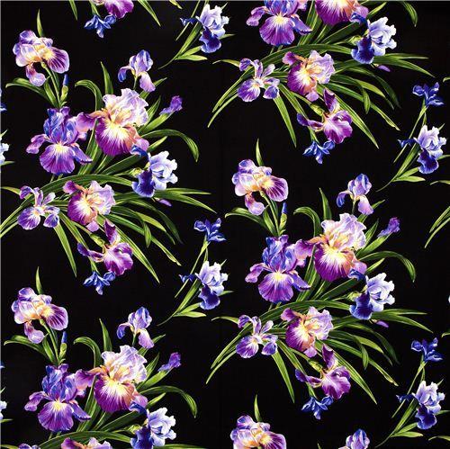 Michael Miller Fabric With Big Iris Flower Michael Miller Fabric Iris Flowers Michael Miller