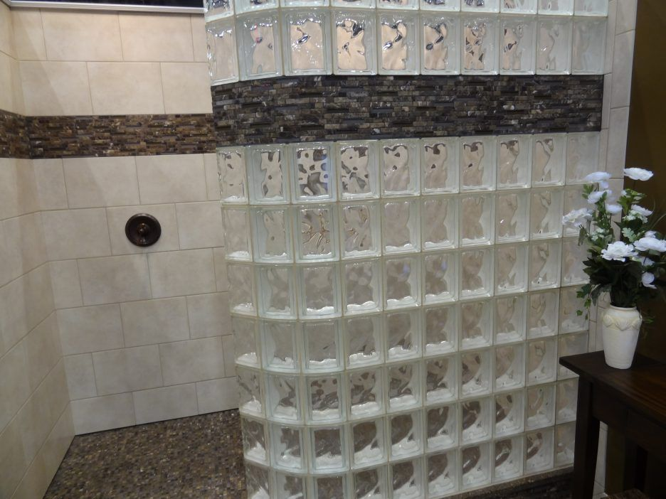 Brown Mosaic Bathroom Accessories. Bathroom  Awesome Small Design With Glass Block Divider Shower Room Along White Ceramic