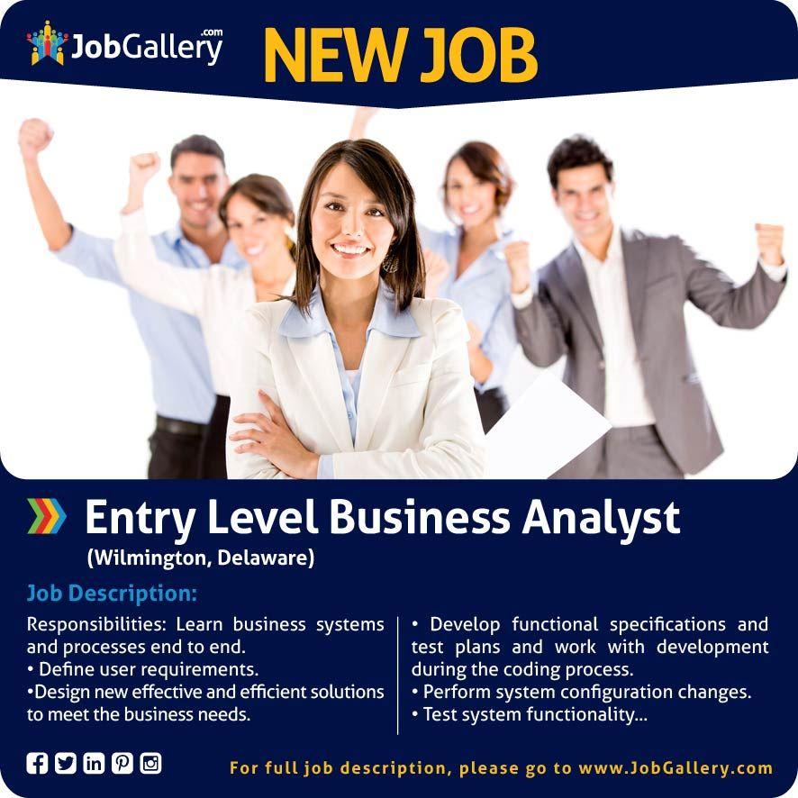 Seeking an entry level business analyst wilmington de