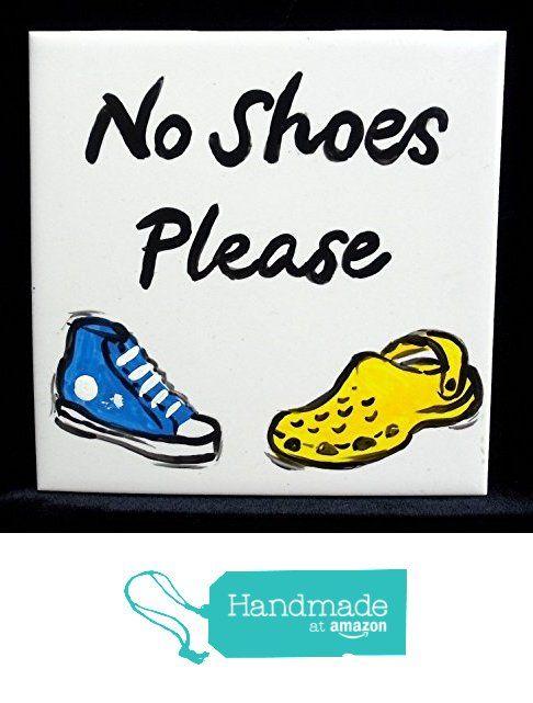 No Shoes Please Ceramic Door Sign