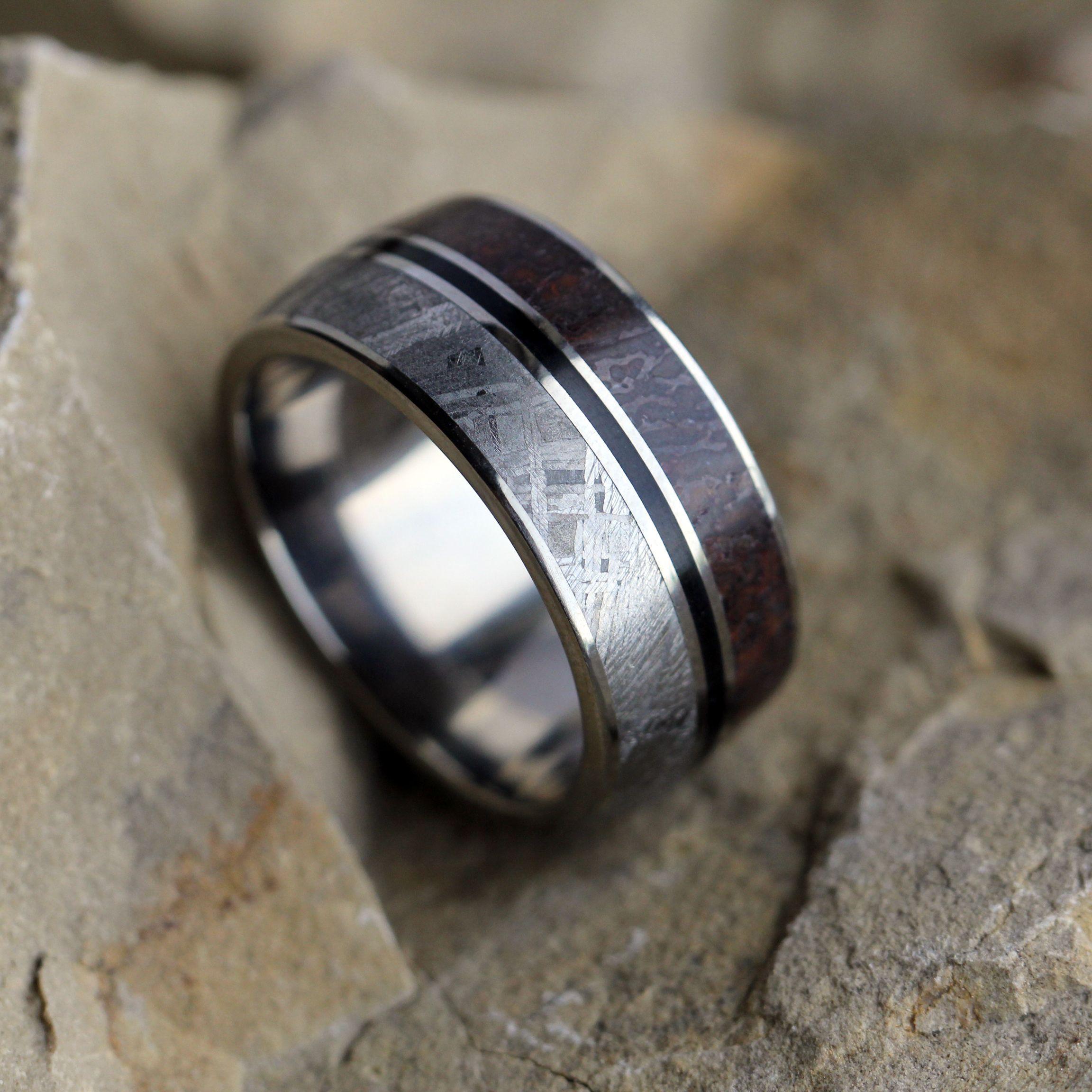 Meteorite, Enamel And Dinosaur Bone Wedding Ring  Jewelry By Johan