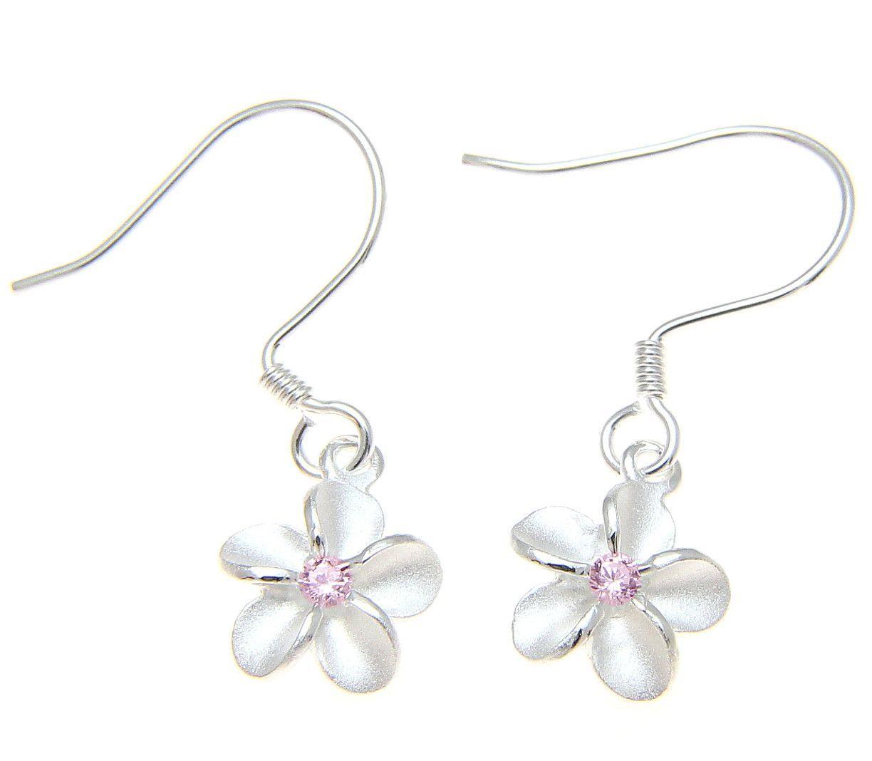 Sterling Silver 925 Hawaiian Plumeria Flower Earrings Wire Hook Pink