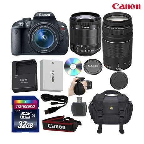 13-Piece Set: Canon EOS Rebel T5i DSLR Camera with 18-55 & 75-300mm Zoom Lenses & Accessories at 38% Savings off Retail!