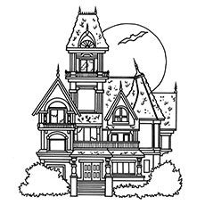 Top 25 free printable haunted house coloring pages online for Coloring pages of haunted houses