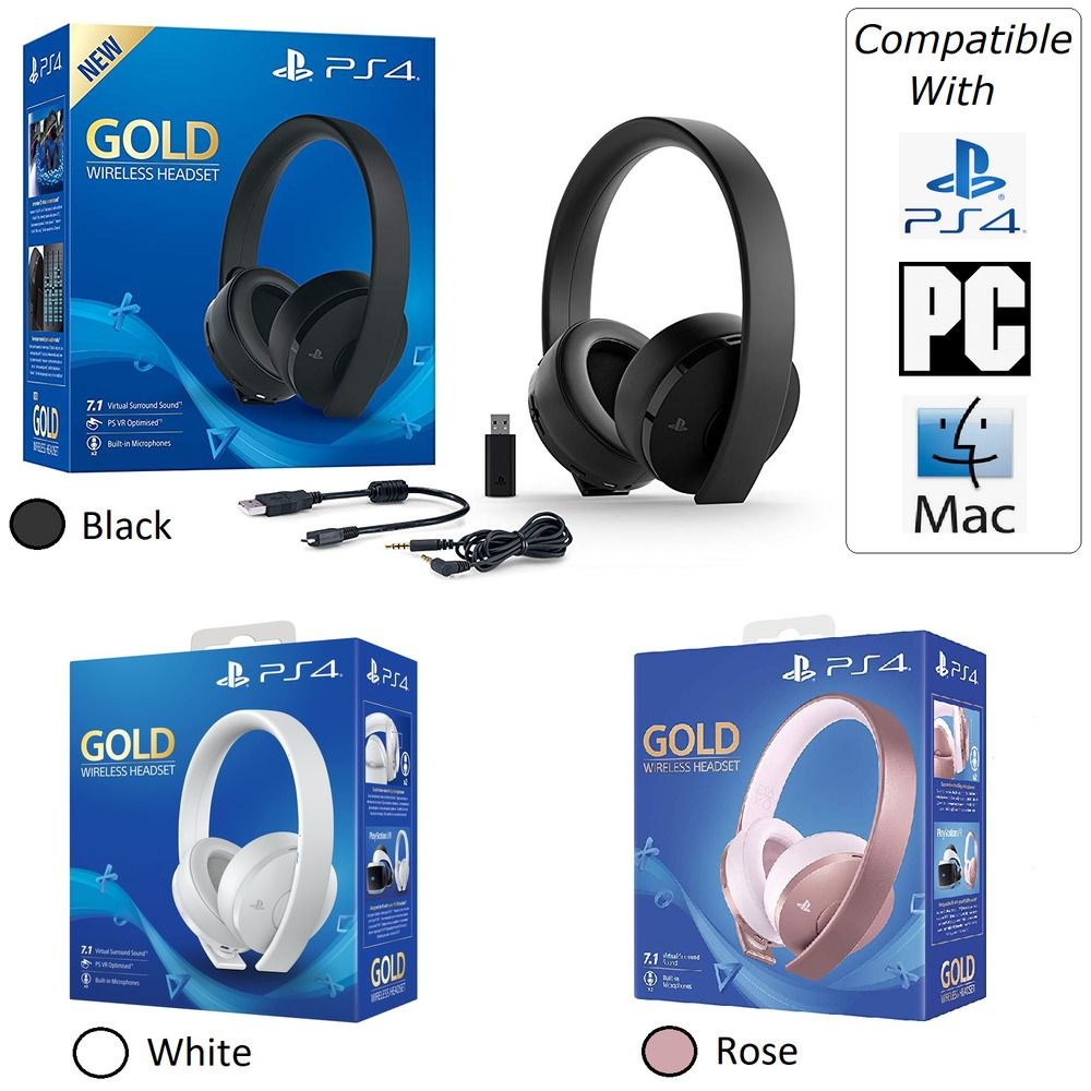 Ps4 Gold Wireless Gaming Headset Playstation 4 Gold Also Pc Mac Compatible Sony Headsets Gaming Headset Headset Playstation