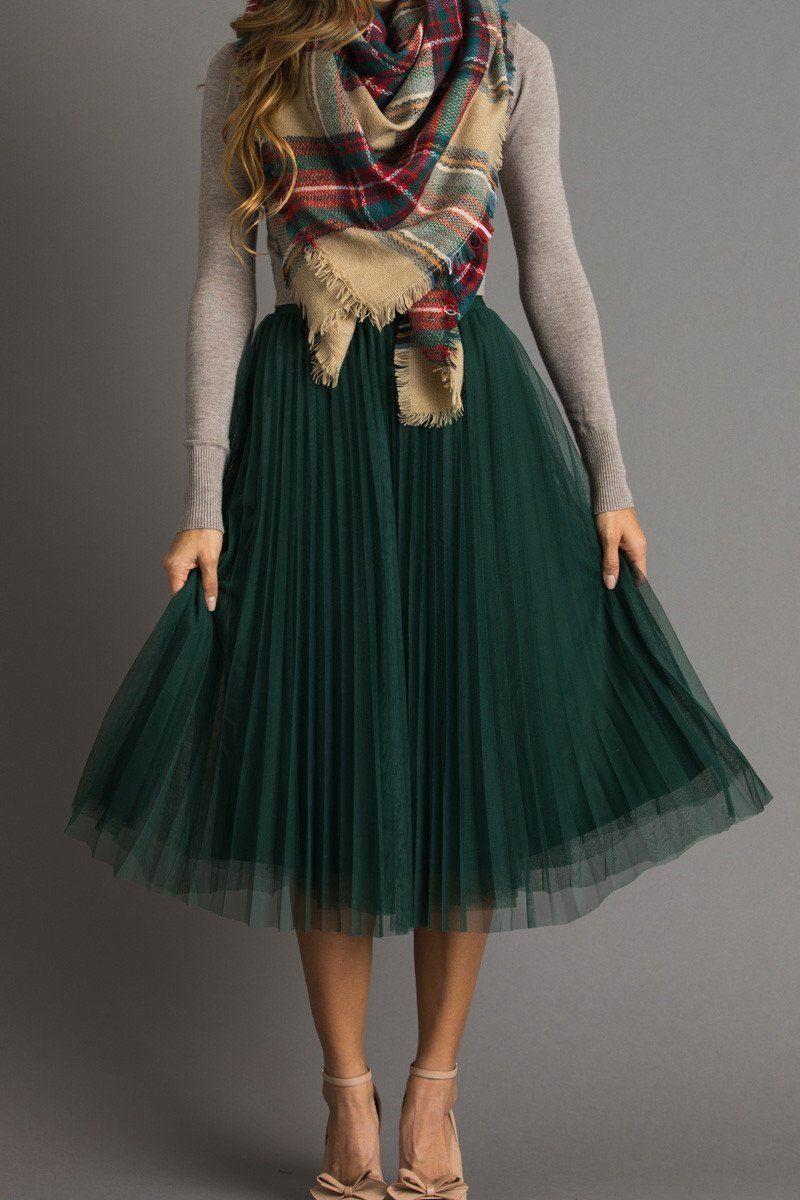 b299d230b Petite Vienna Green Pleated Tulle Midi Skirt | Morning Lavender ...
