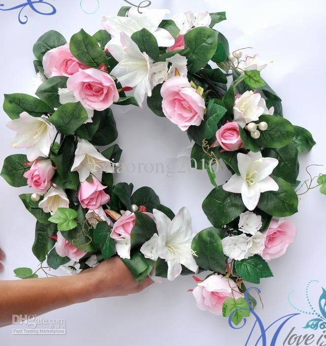 Lily Flower Best Silk Simulation Artificial Rose Garlands Wedding Christmas 1 8m Vine Pink Amp White Online With 18 61 Piece