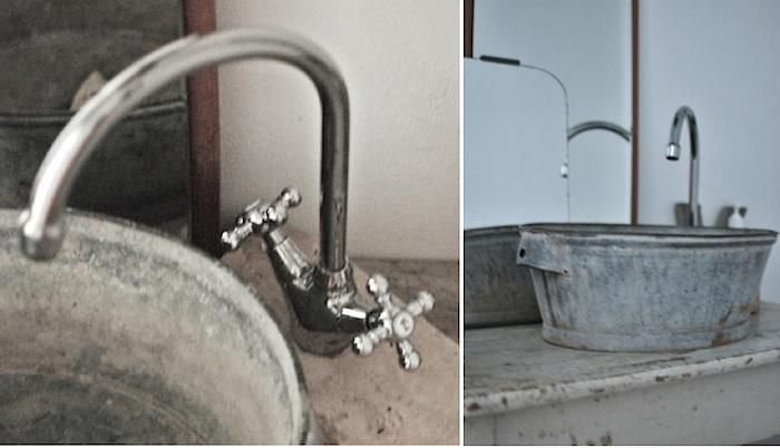 diy bathroom sink - galvanised bucket made into a sink, the tap is elevated  on a piece of concrete. no DIY instructions found Outdoor sink for washing  ...