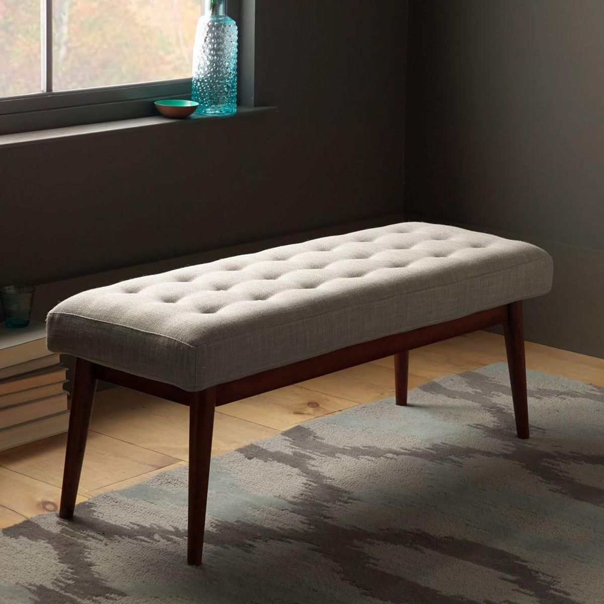 End of hallway storage  MidCentury Upholstered Bench  Lounge Room  Pinterest