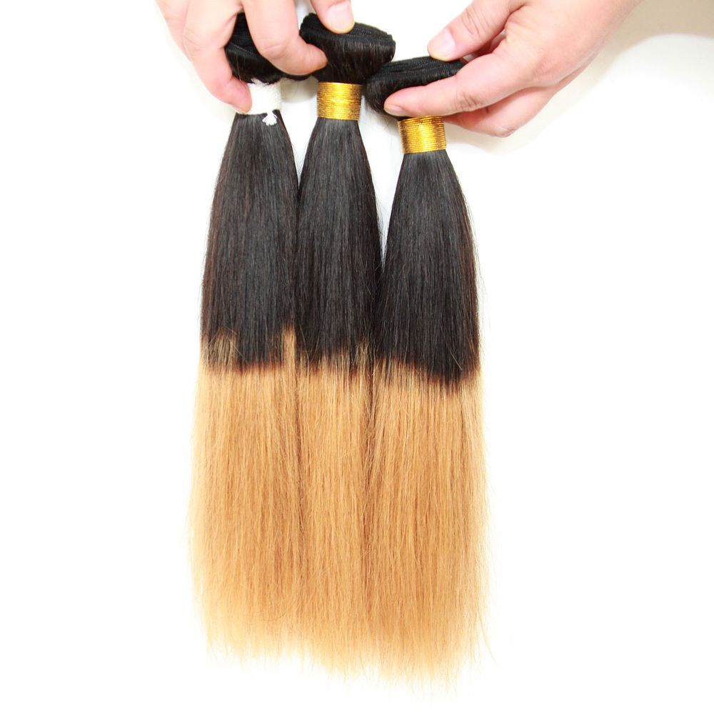 4Bundles Straight Human Hair Extension,Ombre Color1B/27
