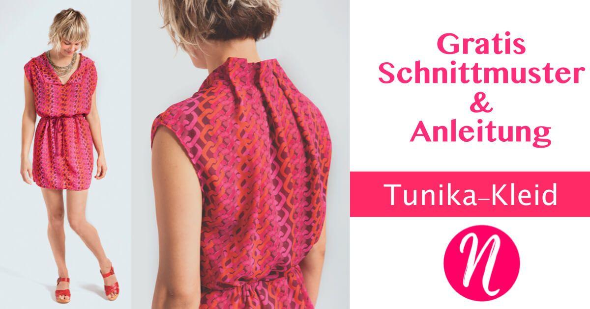 Einfaches Tunika-Kleid für Damen Gr. S/M für leichte Webware ...