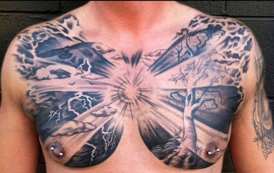 This Chest Piece Is Crazy Artist Unknown Mindblowingtattoos Follow Chest Tattoo Men Chest Piece Tattoos Wing Tattoo Men