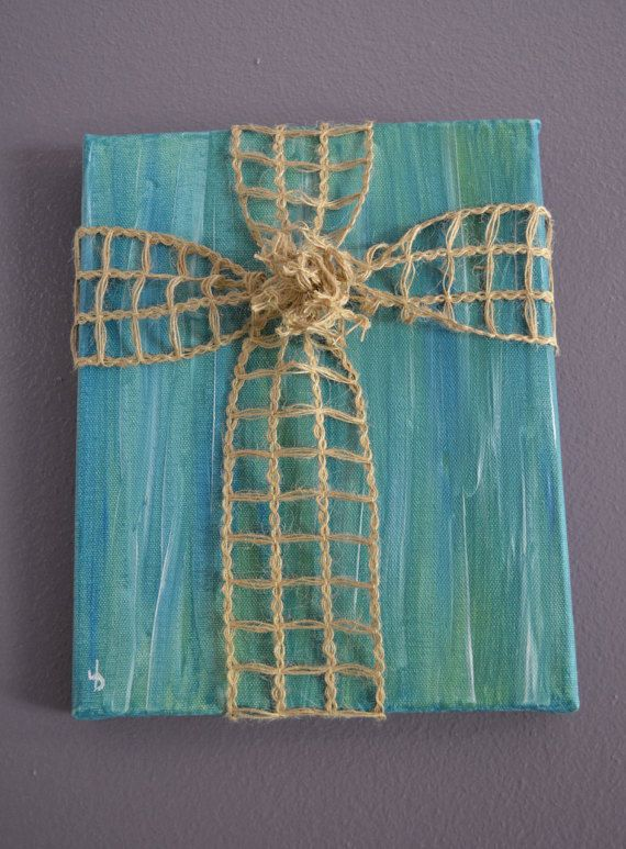 Burlap Cross on Turquoise by FaithTrustAndPaint on Etsy