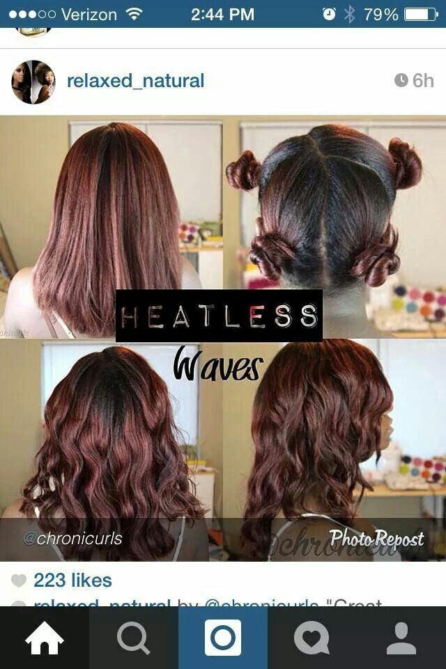 Heatless Waves On Relaxed Hair By Chronicurls In Instagram Wavy Hair Overnight Relaxed Hair Heatless Curls Short