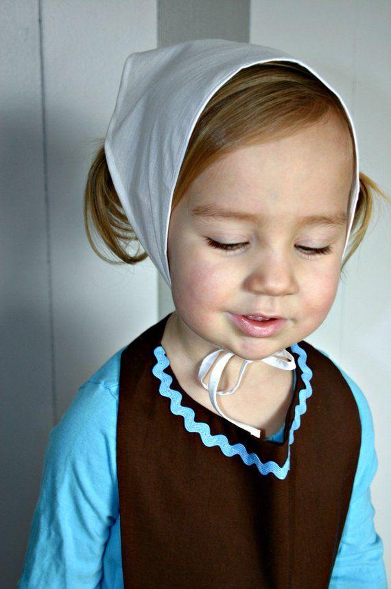 c25b48c33ca CHILD Kerchief Head covering scarf cap hat bonnet. Cinderella Swiss German Amish  Pilgrim Maid Servan