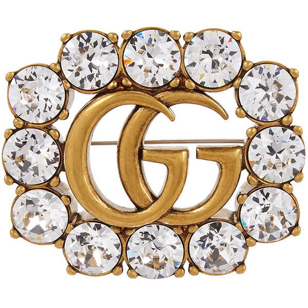 b54407a46 Gucci GG Marmont Crystal-embellished Brooch ($360) ❤ liked on Polyvore  featuring jewelry, brooches, gucci, pin brooch, antique gold brooches,  antique gold ...