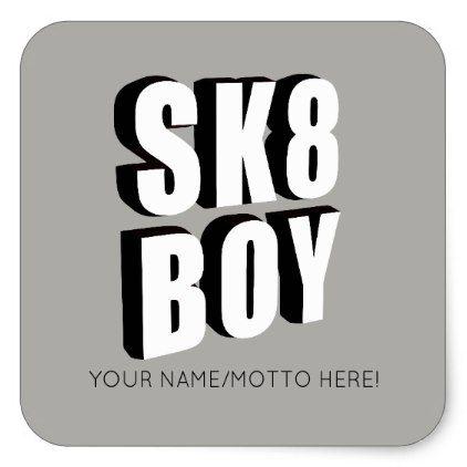 Skateboard logo square sticker