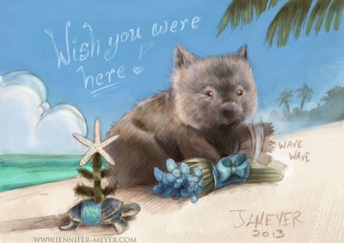 Wombat holiday post card