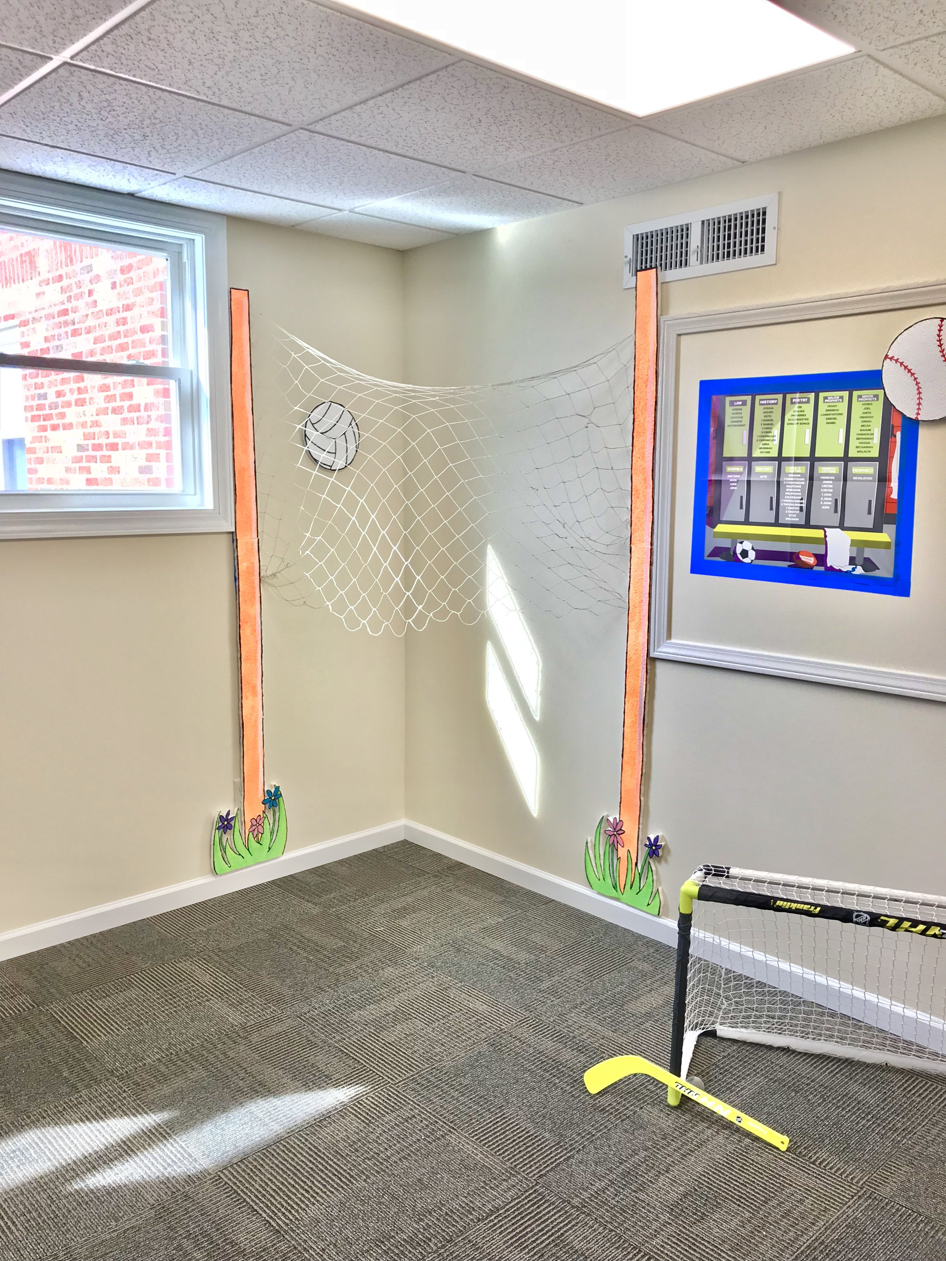 Vbs 2018 Lifeway Game On Decorations Volleyball Poles Made From Styrofoam Insulation Purchased From Lowe S Painte Vbs Crafts Vbs Themes Sports Decorations