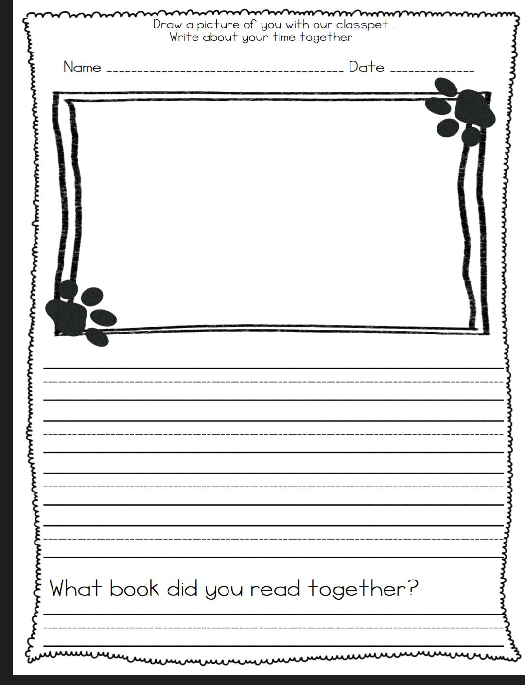 Class Pet Journal Template