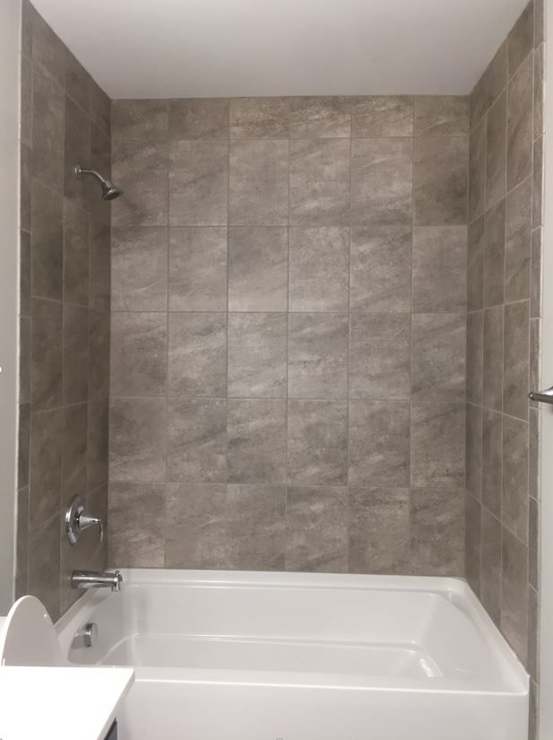 Avondale Castle Rock 10x14 Tile Installed Vertical Stacked In Shower Bath Tiles New Home Designs Tile Installation
