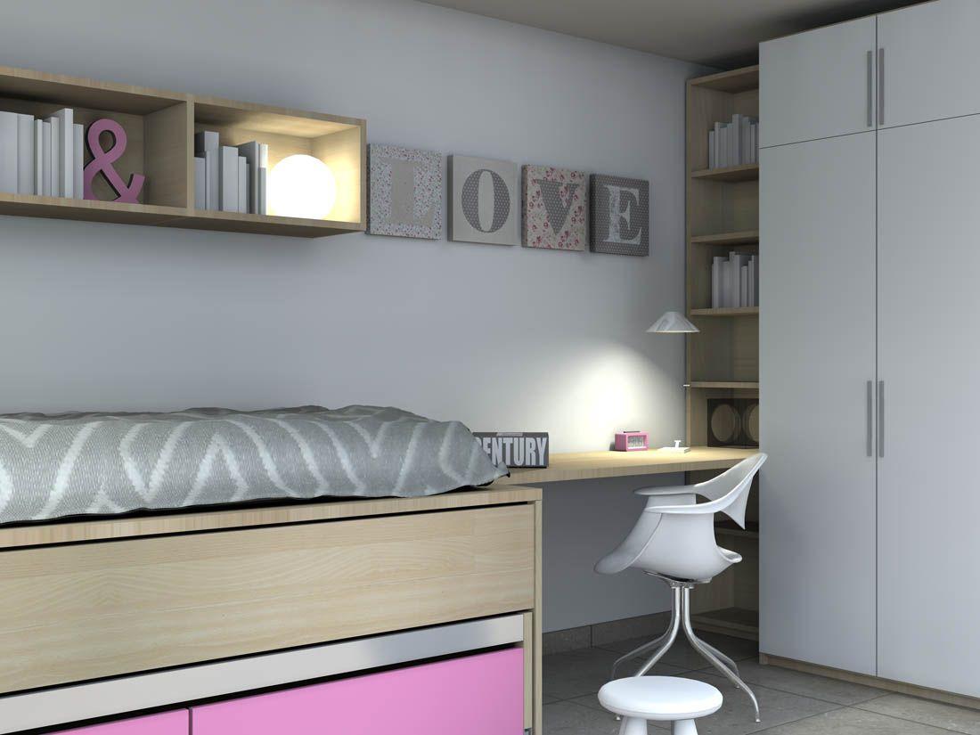 Alta Möbel r224 cama alta con cama nido y cajonera debajo armario y mesa de