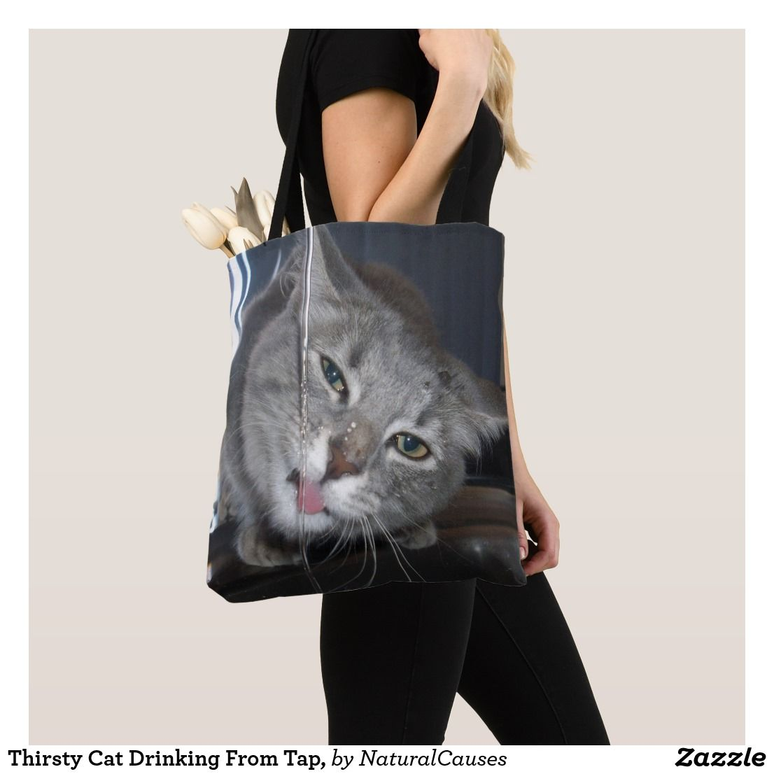 51ac398f2 Thirsty #cats Drinking From Tap, #totebag Bag |