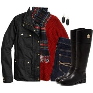 J.Crew field jacket & cable knit sweater with tartan scarf