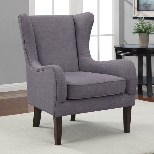 Curved Wing Upholstered Chair Grey Review Buy Now