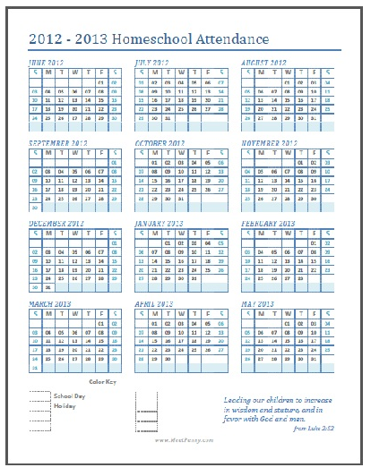 picture regarding Homeschool Calendar Printable known as Absolutely free Printable Homeschool Attendance Calendar Totally free