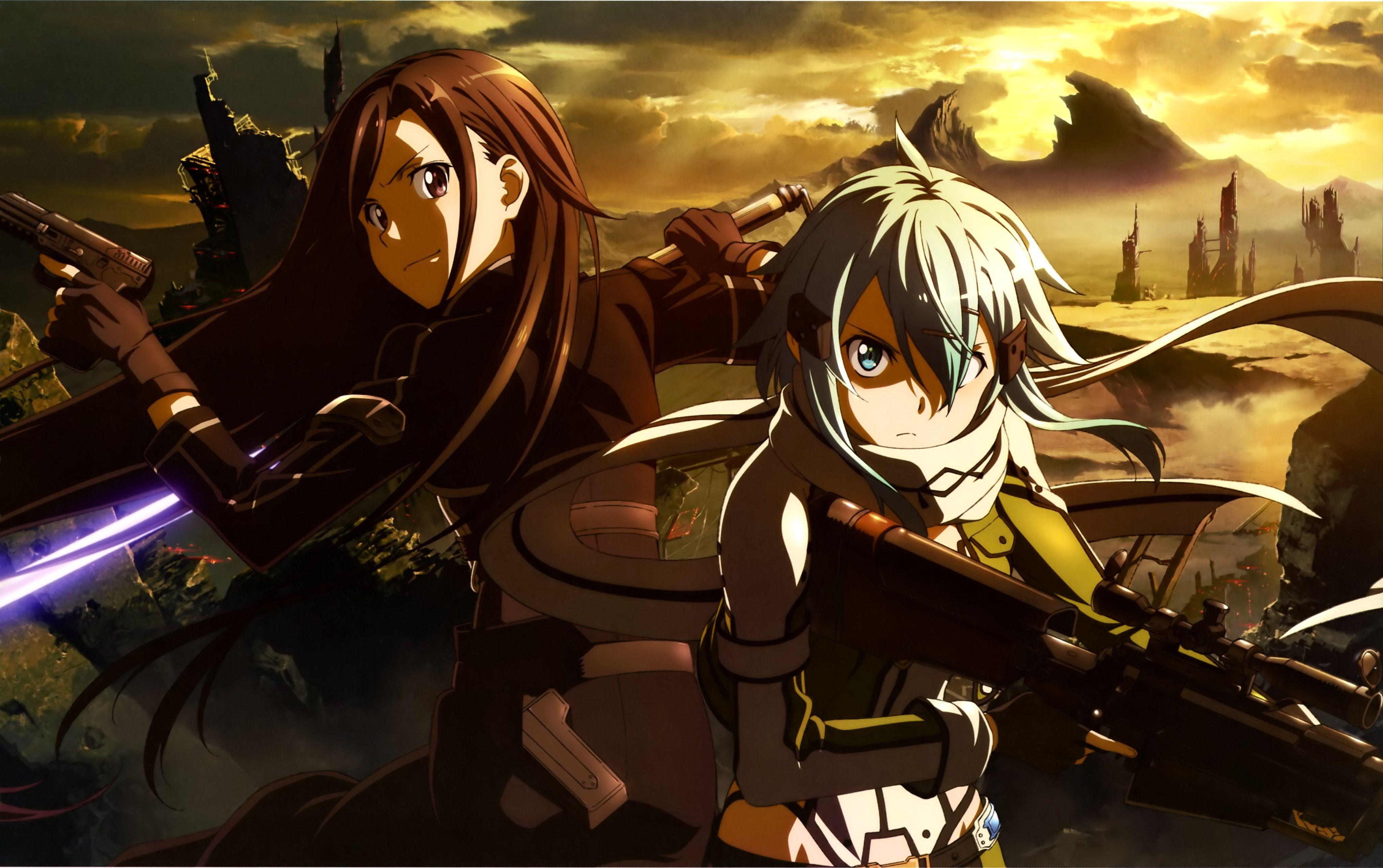 Anime Sword Art line II Kirito SAO Sinon SAO Wallpaper