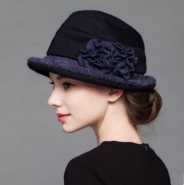 Elegance flower bowler wool hat for women warm winter hats
