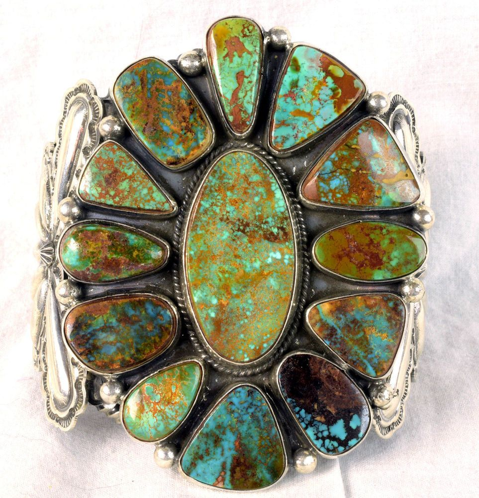 Turquoise native american huge mens turquoise cuff bracelet by