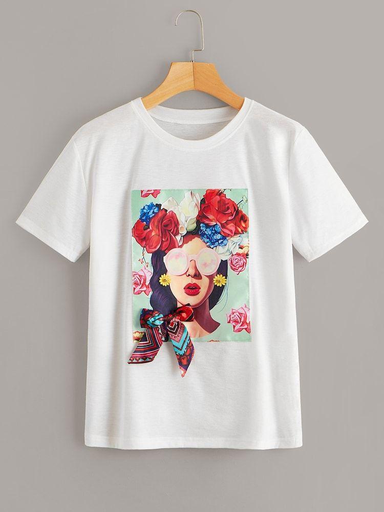 Camiseta bajo asimétrico con diseño de fleco | Camisetas