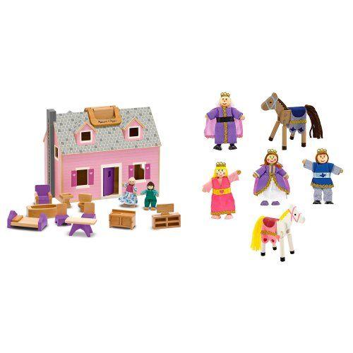 Melissa Doug Fold And Go Mini Dollhouse And 6 Piece Royal Wooden