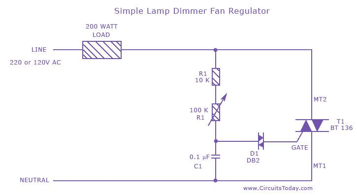 A Fan Regulator Circuit Which Can Also Be Used As A Simple Lamp Dimmer Circuit This Fan Speed Regulator O Simple Lamp Electrical Circuit Diagram Simple Circuit