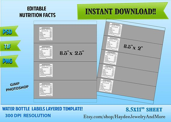 Water Bottle Labels Template Layered Template Psd Png Tif