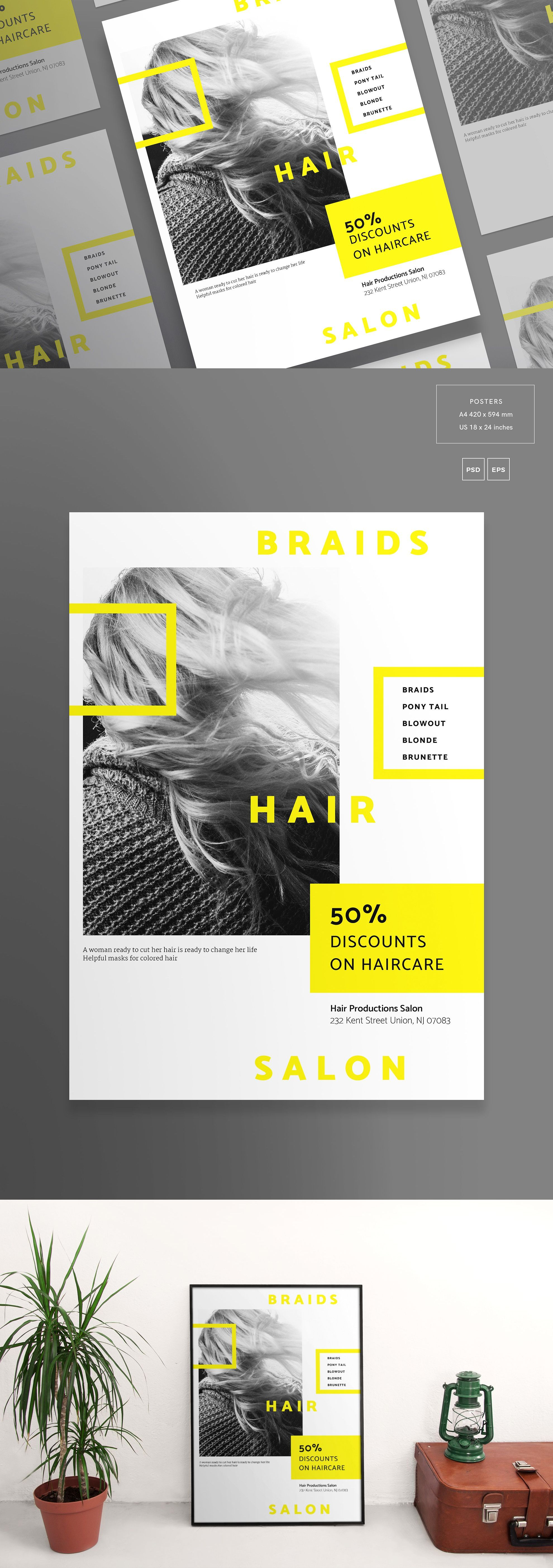 Posters Template Braids Hair Salon EPS