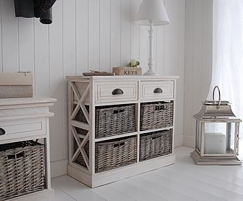 Side view of the hall storage table with baskets and drawers