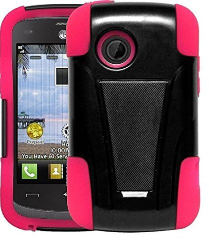 LG Aspire LN280 / 306G / LG 305C, Hybrid Dual Layer Case with Stand, Stylus Pen & Wiper for (Tracfone StraightTalk Net10) LG Aspire LN280 / 306G / LG 305C (Stand White)