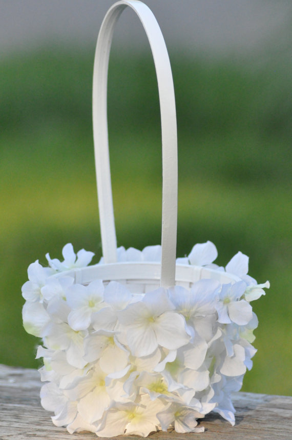 White hydrangea flower girl basket. by Hollysflowershoppe on Etsy ...