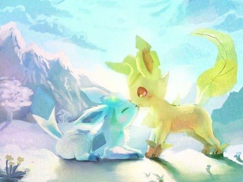 Glaceon And Leafeon Pokemon Evoli Pokemon Original Et